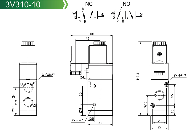 Pneumatic Valve 4v300 Series Solenoid Valve 4v300 Series